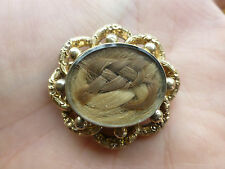 Antique Victorian 10k yellow gold hair mourning locket brooch pin bead flower
