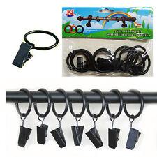 10* Metal Curtain Pole Rings & Hooks Rail Bracket Quality Rod Rings BLACK Colour