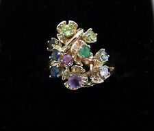 Estate 14k Yellow Gold Multi Color Gemstones Cluster Ring size 7
