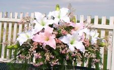 Pink White Casa Blanca Lilies Cascading Headstone Grave Country Memorial Saddle