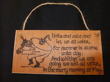 Hand designed wooden plaque - Padstow  song -may - obby oss- Cornwall festival