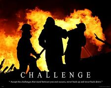 Firefighting Motivational Poster Art Fireman Equipment Badge Helmet Tools MVP209