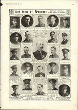 1915 WWI PRINT ~ ROLL OF HONOUR ~ VALLINGS PADDISON MAY RAMSAY McAFEE DUNDAS ETC