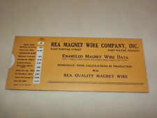 Vintage 1940S Rea Magnet Wire Company Fort Wayne Indiana Wire Data Calculator