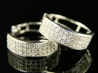 10K MENS/LADIES ROUND SI DIAMOND HOOPS EARRINGS