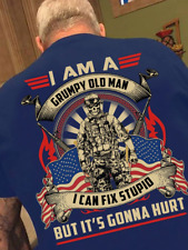 American I Am A Grumpy Old Man I Can Fix Stupid Men T Shirt Cotton Royal Blue