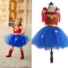 Cute Kids Girl Wonder Woman Tutu Dresses Cosplay Costume Party Fancy Tulle Dress
