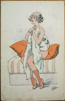Reb/Artist-Signed 1915 Risque Postcard: Woman Covering Herself in Fur
