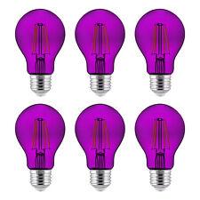 6-Pack Sunlite LED bombillas de filamento A19 Púrpura Transparente, 4.5 Watts, Regulable