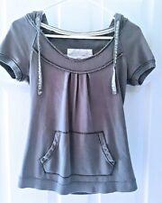 Women's HOLLISTER Short Sleeve Gray Hoodie / Shirt / Top ..Size S