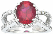 1 carat Oval Ruby with round Diamonds Engagement Wedding 14k White Gold Ring