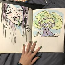 "COLORFUL Used 11"" x 8 1/2"" Sketchbook Journal w ORIGINAL Drawings/Illustration!!"