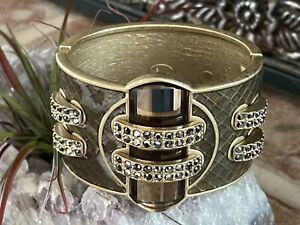Lia Sophia Kiam Collection Brown Gold Tone Cuff Bracelet - Nice Statement Pc.