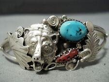 Super Detailed Vintage Navajo Turquoise Sterling Silver Coral Bracelet