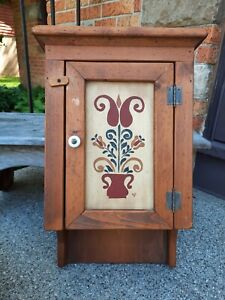 "Primitive Vintage Wood Hanging Wall Cupboard Art Deco Tole Paint Cabinet 22.5"""