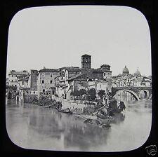 Glass Magic Lantern Slide ISLAND IN THE TIBER ROME C1900 ROMA ITALY