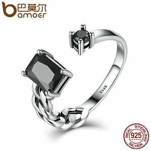 Bamoer New Retro S925 Sterling Silver adjustable Ring Jewelry With Black zircon