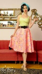 Pinup Couture Atomic Print Doris Skirt With Belt In Light Pink M Excellent cond