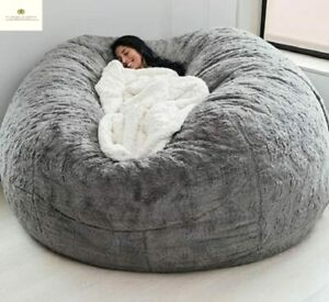 Giant Fur Bean Bag Cover Floor Seat Couch Futon Sofa Recliner Pouf Living Room