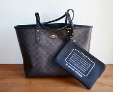 NWT COACH F36658 REVERSIBLE CITY TOTE SIGNATURE BROWN BLACK $350