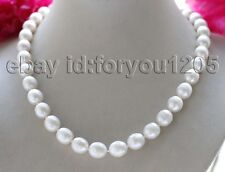 "Baroque Rice Pearl Necklace #f3119! 18"" Genuine Natural 12mm White"