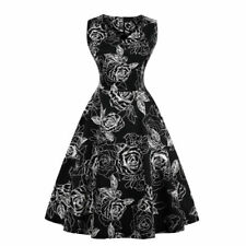 4ecbd7bef51 UK Womens Plus Size 50s 60s Vintage Floral Rockabilly Cocktail Party Swing  Dress