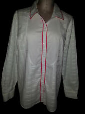 TOMMY HILFIGHER Womens Long Sleeve Button Front Blouse Size XL White Pink Trim