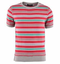 Cotton Blend Short Sleeve Fitted Striped T-Shirts for Men