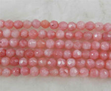 beautiful 4mm Natural pink Rhodochrosite jade Faceted Round Loose Beads 15""