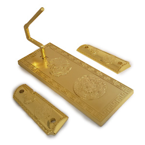 1911 Custom Grips Gold plated 1911 full size grips + Stand Aztec Eagle gold