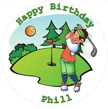 """Golf personalised icing sheet cake topper 7.5"""" Round Birthday, Retirement"""