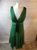 Ted Baker Green Silk V Neck Sleeveless Fit and Flare Midi Party Dress Size 3/ 12