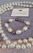 JEWELRY SET LOT VINTAGE PEARLS LONG NECKLACE BRACELET EARRINGS PIERCED ❤  14