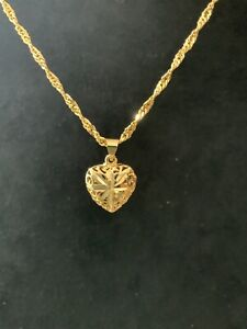 22ct 22k Gold Filled Ladies Chain Necklace 45cms With Heart Pendant