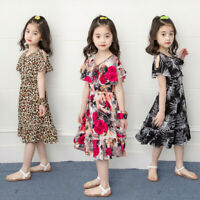 Toddler Kids Baby Girl Floral Leopard Print Beach Dress Princess Outfits Clothes