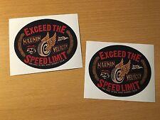 2x Vintage Speed Autocollant Sticker biker moto Tracker Cafe Racer Rétro m006
