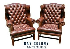 20TH C CHIPPENDALE ANTIQUE STYLE PAIR OF TUFTED LEATHER WING BACK ARM CHAIRS