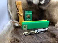 1984 Vintage Puma 6393 Skinner Knife With Stag Handles & Tag 40482 Mint Box A1