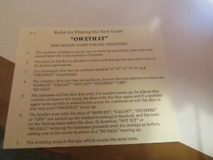 OWZTHAT CRICKET GAME  RULES and score sheet by email or post