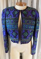 Vintage Blue Green Black Small S Silk Bead Lady Woman Jacket 6 Beaded Formal