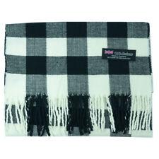 Men Women 100% Cashmere Scarf Wrap Square Buffalo Check Wool SCOTLAND Black