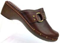 Etienne Aigner Vanessa Brown Leather Mules Horsebit Studded Shoes Women's 9.5 M