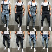 Fashion Men's Denim Jeans Overalls Carpenter Trousers Bib Jumpsuits Moto Pants