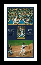 ATLANTA BRAVES MATTED PHOTO OF DAVE JUSTICE 1995 WORLD SERIES WINNING HOME RUN