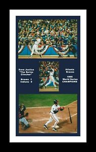ATLANTA BRAVES MATTED PHOTO OF DAVE JUSTICE 1995 WORLD SERIES WINNING HOMER #2