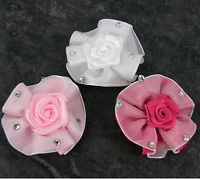 LARGE ROSES ROSEBUDS FELT BACKED DIAMANTE RIBBON BOWS TRIMMINGS  WHITE PINK X5