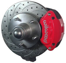 """SWS DISC BRAKE KIT,FRONT,55-57 CHEVY,2"""" DROP SPINDLES,DRILLED ROTORS,RED WILWOOD"""