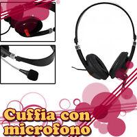 CUFFIA CON MICROFONO  CUFFIE STEREO - PER PC TV MP3