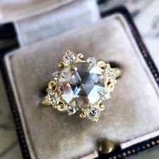 White Rose Cut Moissanite Engagement Ring Solid 10K Yellow Gold 2.57 Ct Near