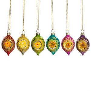 Bright Metallic Open Faced Baubles Hanging Xmas Tree Ornaments Winter Fun